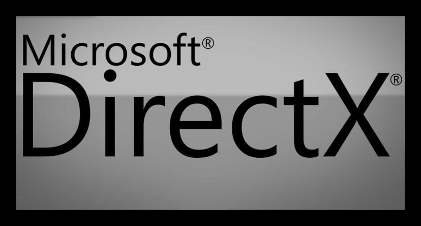 Картинка с надписью Microsoft DirectX на сером фоне