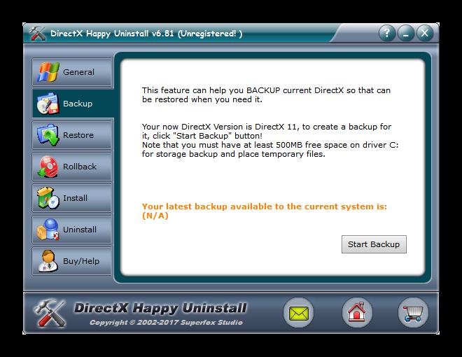 Вкладка Backup в DirectX Happy Uninstall