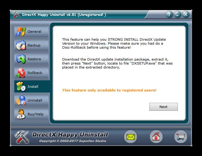 Вкладка Install в DirectX Happy Uninstall
