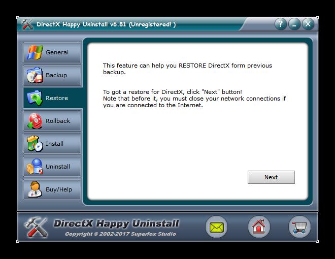 Вкладка Restore в DirectX Happy Uninstall
