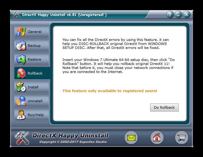 Вкладка Rollback в DirectX Happy Uninstall