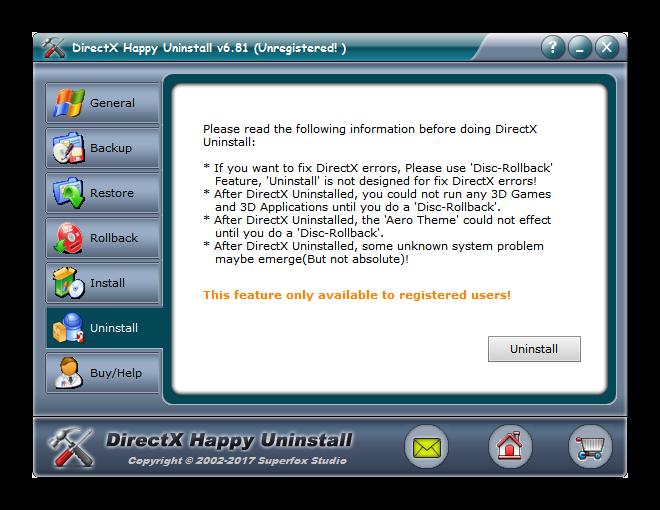 Вкладка Uninstall в DirectX Happy Uninstall